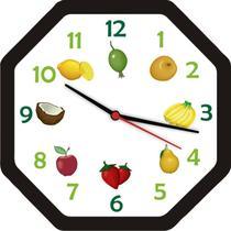Relógio de Parede Cozinha Oitavado Frutas Bells Original -