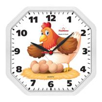 Relógio de Parede Cozinha Oitavado Galinha Branco - Plashome