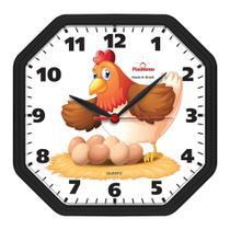 Relógio de Parede Cozinha Oitavado Galinha Preto - Plashome