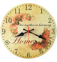 Relógio De Parede Cozinha Sala Vintage Flor Home Retrô 30cm - Relógil