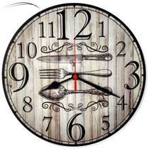 Relógio De Parede Cozinha Talheres Retrô Vintage 30cm - Relógil
