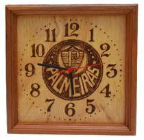Relógio de parede de madeira feito a mão, desenhado time Palmeiras - Artesanal