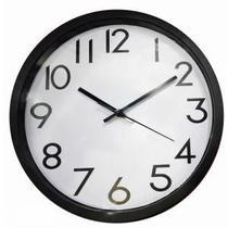Relógio de Parede de Plástico Preto e Branco - Decorafast