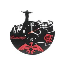 Relógio de Parede Decorativo - Flamengo Libertadores 3D Preto com Vermelho - Wvm
