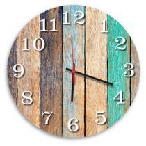 Relógio de Parede Decorativo Madeira Pátina Colorida 35cm - Prego E Martelo