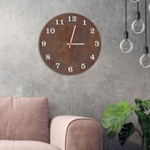 Relógio de Parede Decorativo Premium Corten com Números em Relevo Branco - Prego E Martelo