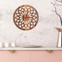 Relógio de Parede Decorativo Premium Mandala Vazado Amadeirado - Prego E Martelo
