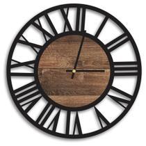 Relógio de Parede Decorativo Premium Vazado Números Romanos Preto Ônix com Detalhe Madeira Ripada - Prego E Martelo