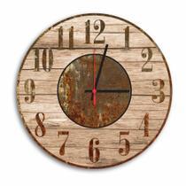 Relógio de Parede Decorativo Vintage Madeira e Ferrugem 35cm - Prego E Martelo