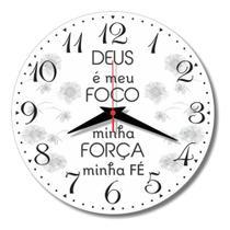 Relógio De Parede Deus Foco Fé Força Frase Cozinha 30cm - Relógil