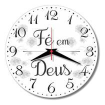 Relógio De Parede Deus Foco Força Fé Frase Cozinha 30cm - Relógil