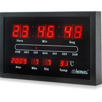 Relógio de Parede Digital 6289-34 30x19x4 cm Preto - Herweg -