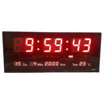 Relógio De Parede Digital Led Grande Com Data Mês E Ano Temperatura Dia Da Semana Despertador - Top Total