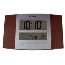 Relógio de parede digital moderno termômetro com duas escalas alarme com melodia herweg imbuia -