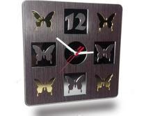 Relógio de Parede em Madeira Mdf Laminado Borboletas em Espelhos - Decoramix