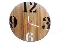 Relógio de Parede em Madeira Mdf Laminado com Números Espelhados - Decoramix