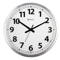 Relógio De Parede Grande Analógico Mecanismo Step Fundo Branco Alumínio Escovado Herweg -