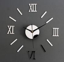 Relógio De Parede grande tipo 3D Luxo Acrílico Autocolante Decoração Casa Sala Escritório Cozinha Quarto Prata Silver - Import