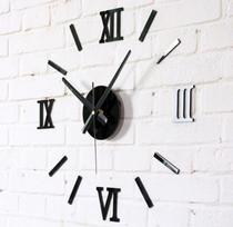 Relógio De Parede grande tipo 3D Luxo Acrílico Autocolante Decoração Casa Sala Escritório Cozinha Quarto Preto Black - Import