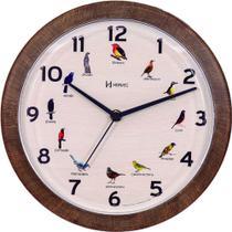 Relógio de Parede-Herweg-Canto Pássaro-Marrom-6658 c/pilha -