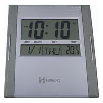 Relógio de Parede Herweg Prata Digital Mesa e Parede -