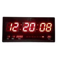 Relógio De Parede Led Digital Data Tempe 46 Cm Calendário - Top Total