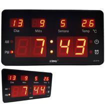 Relógio de Parede Led Digital G Termômetro Alto Brilho Data - Lelong