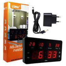 Relógio De Parede Led Digital LE-2115 Lelong Temperatura Calendário Alarme -