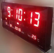 Relógio de parede led digital temómetro alto brilho data 3615 vermelho - Tlt