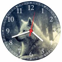 Relógio De Parede Lobo Animais Salas Cozinhas Tamanho Grande 50 Cm Quartz G01 - Vital Quadros