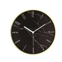 Relógio de Parede Marmorizado Preto e Dourado 10089 Mart -
