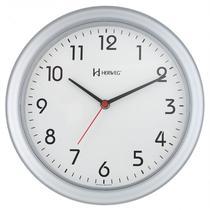 Relógio de parede moderno analógico redondo mecanismo step herweg prata -