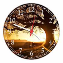Relógio De Parede Paisagem Árvore Sol Troncos Natureza Salas Cozinhas Decoração - Vital Quadros