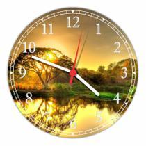 Relógio De Parede Paisagem Árvores Lago Sol Natureza Salas Cozinhas Decoração - Vital Quadros