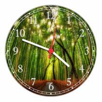 Relógio De Parede Paisagem Bambu Natureza Salas Cozinhas Decoração - Vital Quadros