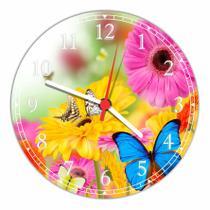 Relógio De Parede Paisagem Flores Borboletas Natureza Salas Cozinhas Decoração - Vital Quadros