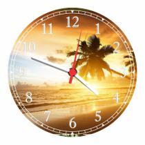 Relógio De Parede Paisagem Mar Coqueiros Sol Praia Natureza Salas Cozinhas Decoração - Vital Quadros