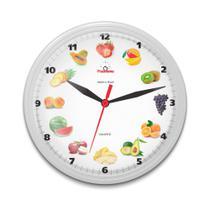 Relógio de Parede para Cozinha Redondo Frutas Branco - Plashome