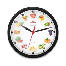 Relógio de Parede para Cozinha Redondo Frutas Preto - Plashome
