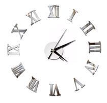 Relógio de Parede Para Cozinha Tipo 3D Acrílico Autocolante Decoração da parede da Casa Sala Escritório Quarto quartz - Diy