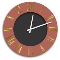 Relógio de Parede Premium Cobre Metálico com Relevo em Acrílico Espelhado Dourado e Preto Ônix 50cm - Prego E Martelo