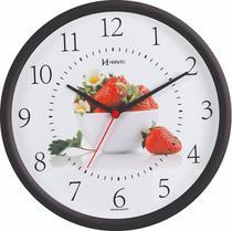 Relógio de Parede Preto Cozinha Morango Herweg 6693-34 -