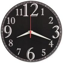 Relógio De Parede Preto Números Grandes Cozinha Sala 30cm - Relógil
