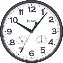 Relógio De Parede Preto Temperatura e Umidade Herweg 660072 -