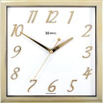 Relógio de parede quadrado moderno herweg dourado -