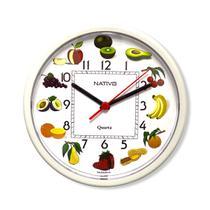 Relógio De Parede Quartz Para Cozinha Redondo Branco Com Frutas - Nativo
