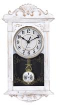 Relógio De Parede Retangular C/ Pendulo Ativo Branco c/ Pátina Ouro Velho - Yins