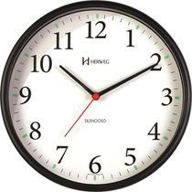 Relógio de Parede Silencioso Redondo Preto Herweg 6126S-34 -