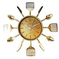 Relógio De Parede Talheres De Cozinha Garfo E Colher Dourado - Imp
