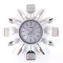 Relógio De Parede Talheres De Cozinha Garfo E Colher Prata - Imp